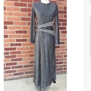 VTG Black & Silver Metallic Long Sleeve Dress